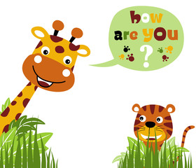 vector cartoon illustration of cute animals