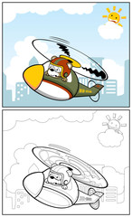 coloring book or page with funny helicopter pilot cartoon vector