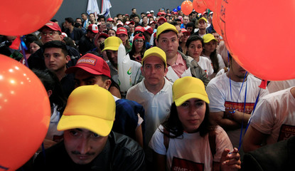 Supporters of presidential candidate German Vargas Lleras attend his campaign rally in Bogota