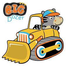 Cute animals on construction vehicle, vector cartoon illustration. Eps 10
