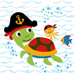 Vector cartoon of Turtle with little friends. Eps 10