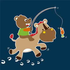bear playing with donkey, vector cartoon illustration