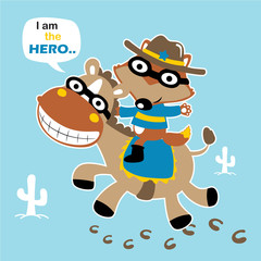 Super hero, ride on funny horse, vector cartoon illustration