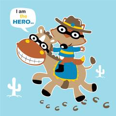 Super hero, ride on funny horse, vector cartoon illustration