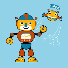 funny robots,  vector cartoon illustration
