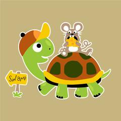 Nice animals friendship, mouse ride on turtle, vector cartoon illustration