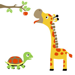 turtle and giraffe try to pick a fruit,  vector cartoon illustration