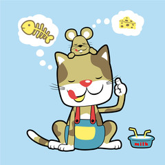 cat and mouse thinking about foods, vector cartoon illustration