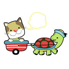 cute animals, turtle and cat playing time, vector cartoon illustration