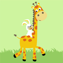 vector cartoon illustration of giraffe and rabbit