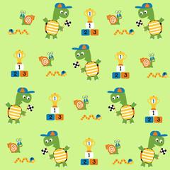 Vector cartoon seamless pattern with cute animals. Little animals racing run