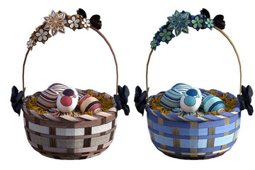 Pair of Easter baskets filled with eggs isolated on white, 3d render.