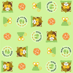 Vector cartoon seamless pattern with cute animals. Hide and seek game