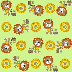 Vector cartoon seamless pattern with cute lion family
