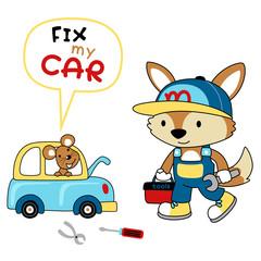 vector cartoon of car repair shop with funny mechanic