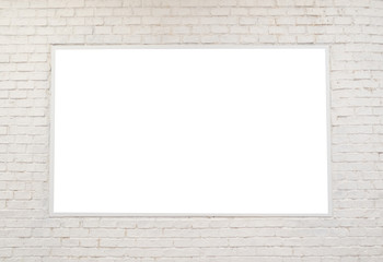 blank billboard on white brick wall background