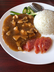 chicken with sauce over rice, favorite thai food menu