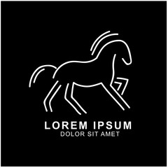 horse logo design. minimalist outline horse logo