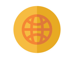 yellow globe business company office corporate image vector icon logo
