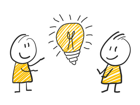 2 stick man standing and thinking expression illustration yellow lightbulb idea