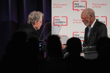 Actor Morgan Freeman greets author Stephen King at the PEN America Literary Gala in New York