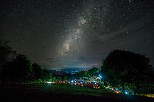 Camping site under milky way. View of the Milky Way galaxy at Doi Samer Dao - Sri Nan National Park, Nan, Thailand, night sky.