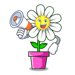 With megaphone daisy flower character cartoon