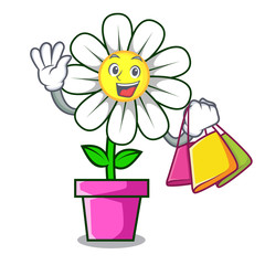 Shopping daisy flower character cartoon