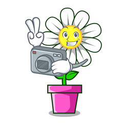 Photographer daisy flower mascot cartoon