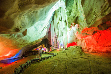 Colorful Lighting Cave in Pha Nang Khoi Cave, Northern of Thailand