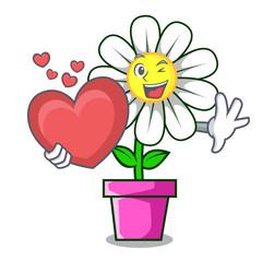 With heart daisy flower mascot cartoon