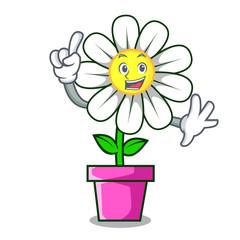 Finger daisy flower mascot cartoon