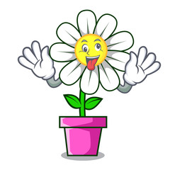 Crazy daisy flower mascot cartoon