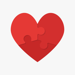 Red Puzzle Heart. Jigsaw Logotype. Medical.