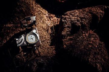 Kompass liegt auf dem Waldboden, bereit für das nächste Abenteuer