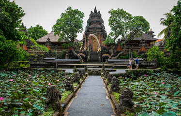 Ancient Hindu temple with lotus pond
