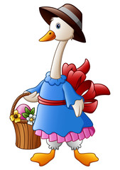 White Goose cartoon wearing a hat with basket and easter egg