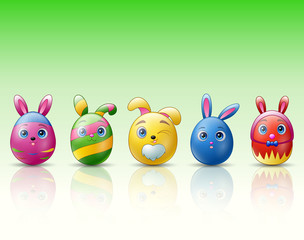 Set of easter eggs cartoon character with bunnies ears on green background