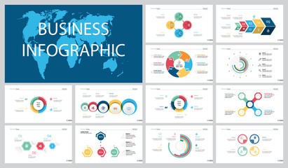 Colorful marketing or banking concept infographic charts set