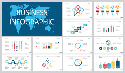 Colorful statistics or banking concept infographic charts set
