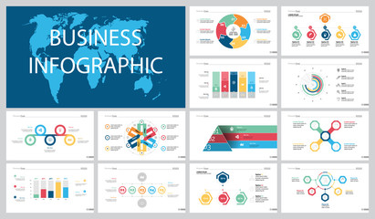 Colorful statistics or planning concept infographic charts set