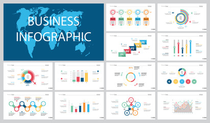 Colorful teamwork or marketing concept infographic charts set