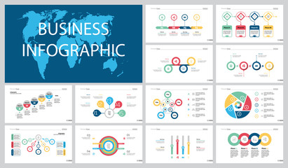 Colorful workflow or research concept infographic charts set