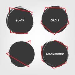 black circles with red line set. trendy background set. brush stroke circles.