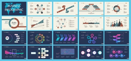 Set of analysis or marketing concept infographic charts