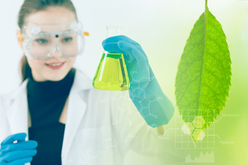 Science and Bio Technology of Green nature herbal extraction in laboratory from scientist.