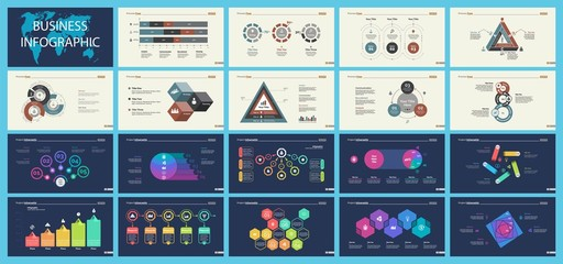 Set of sales or production concept infographic charts
