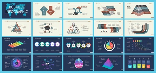 Set of strategy or planning concept infographic charts