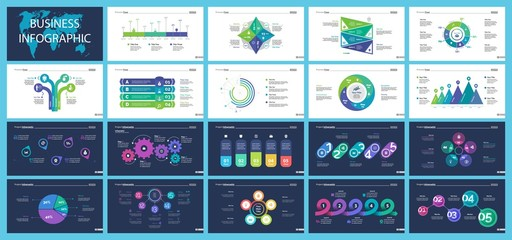 Set of workflow and strategy concept infographic charts
