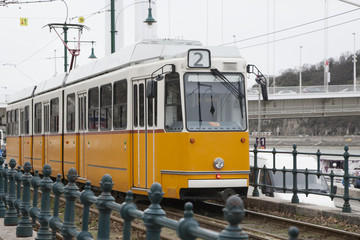 Tramway orange vintage. The famous, tram line 2 riding on the rails in the centre of Budapest, Hungary.